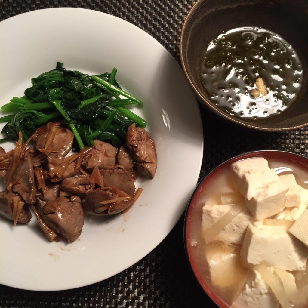 レバニラ炒めと豆腐の味噌汁